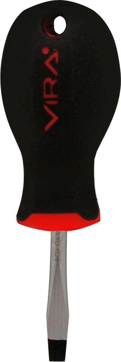 Отвертка Vira, прямая, SL5 х 38 мм. 391130391130Отвертка Vira с эргономичной двухкомпонентной ручкой предназначена для монтажа и демонтажа резьбовых соединений. Простота и удобство отвертки сочетается с высоким качеством и прочностью стержня. Она превосходно справляется с любыми нагрузками, прекрасно подойдет как для профессионального использования, так и для решения бытовых задач. Наконечник намагничен, чтобы облегчить работу с мелкими деталями. Инструмент выполнен в уникальном дизайне и обладает неповторимой формой, идеально подходящей для любого типа кисти. Эргономичная ручка не только удобно лежит в руке, но еще и обеспечивает высокий крутящий момент, а антискользящее покрытие помогает крепко удерживать инструмент в любых рабочих условиях. Рукоятка отвертки оснащена дополнительным отверстием, используемое для воротка в случае, если необходимо приложить дополнительные усилия.