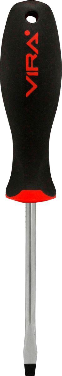 Отвертка Vira, прямая, SL5,5 х 150 мм, CR-V. 391132391132Отвертка Vira с эргономичной двухкомпонентной ручкой предназначена для монтажа и демонтажа резьбовых соединений. Простота и удобство отвертки сочетается с высоким качеством и прочностью стержня. Она превосходно справляется с любыми нагрузками, прекрасно подойдет как для профессионального использования, так и для решения бытовых задач. Наконечник намагничен, чтобы облегчить работу с мелкими деталями. Инструмент выполнен в уникальном дизайне и обладает неповторимой формой, идеально подходящей для любого типа кисти. Эргономичная ручка не только удобно лежит в руке, но еще и обеспечивает высокий крутящий момент, а антискользящее покрытие помогает крепко удерживать инструмент в любых рабочих условиях. Рукоятка отвертки оснащена дополнительным отверстием, используемое для воротка в случае, если необходимо приложить дополнительные усилия.