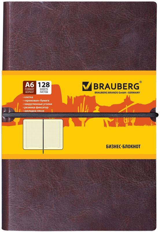Brauberg Блокнот Western 128 листов в клетку формат А6125241Блокнот Brauberg Western - незаменимый атрибут современного человека, необходимый для рабочих и повседневных записей в офисе и дома.Внутренний блок состоит из 128 листов кремовой бумаги формата А6 с разметкой в клетку.