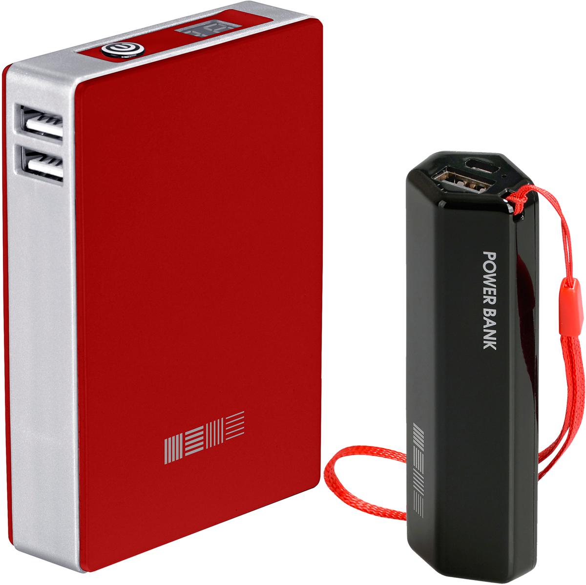 Interstep PB120002U (12000 мАч), Red + PB30001 (3000 мАч) комплект внешних аккумуляторов46958Soft touch покрытие, ячейки ULTRA 4 x 3000 мАч компоновка, 2USB/1+2AСлим упаковка с окномДисплей с точным отображением % заряда Вес 250 грДоп функция - Сквозной заряд.