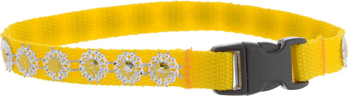 Ошейник для животных GLG Солнечный зайчик, цвет: желтый, размер 1 х 25 смOH18/BОшейник для животных GLG Солнечный зайчик изготовлен из нейлона и высококачественного пластика. Сверхпрочные нити делают ошейник надежным и долговечным. Ошейник оформлен декоративнымиэлементами.Длина ошейника: 25 см. Ширина ошейника: 1 см.