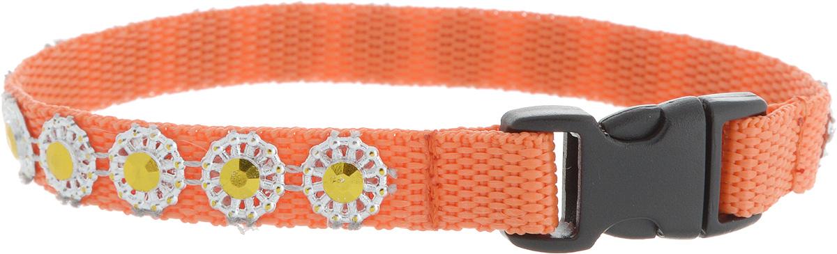 Ошейник для животных GLG Солнечный зайчик, цвет: оранжевый, размер 1 х 22 смOH18/AОшейник для животных GLG Солнечный зайчик изготовлен из нейлона и высококачественного пластика. Сверхпрочные нити делают ошейник надежным и долговечным. Ошейник оформлен декоративными элементами.Длина ошейника: 22 см. Ширина ошейника: 1 см.