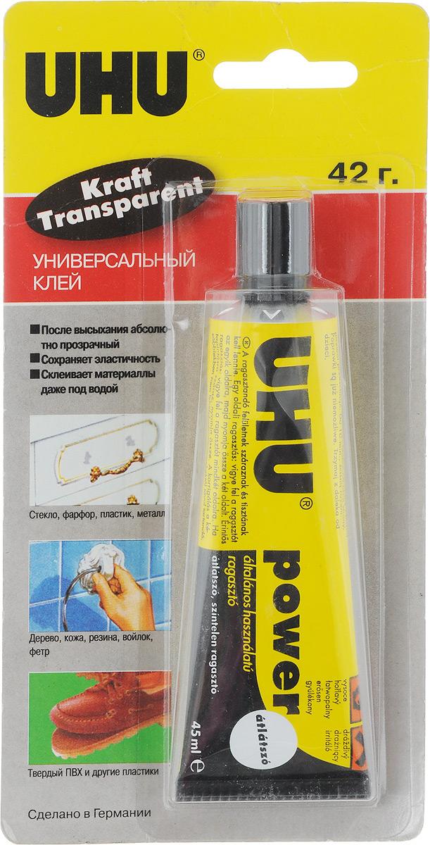 UHU Клей универсальный Kraft Power Transparent 45 мл48300/BКлей UHU Kraft Power Transparent - универсальный прозрачный клей на основе полиуретанового каучука. Склеивает практически все материалы – как твёрдые, так и мягкие. Подходит для склеивания мягкого ПВХ (в частности плёнок и листов, используемых в искусственных прудах и бассейнах). Не подходит для стиропора.Клей устойчив к воде, жирам, промышленным маслам, спирту, а также к неконцентрированным кислотам и щелочам. Неустойчив к ацетату, нитрорастворителям. Клеевое соединение остаётся эластичным и компенсирует натяжения материалов. Устойчиво к УФ-лучам, не рассыхается со временем и сохраняет прочность в температурном диапазоне от -30°С до +70°С.Инструкция по применению: Склеиваемые поверхности должны быть чистыми, сухими и обезжиренными. Работать с клеем желательно при комнатной температуре. Клей пригоден для склеивания как с двусторонним, так и с односторонним нанесением. При одностороннем нанесении одна из поверхностей должна быть впитывающей. Клей наносится на одну поверхность, вторая тут же прикладывается к ней, и прижимается лёгким давлением. Сразу после этого при необходимости возможна корректировка. При двустороннем нанесении распределите Клей равномерно по поверхности шпателем или кисточкой. Дайте клеевому слою подсохнуть в течение приблизительно 10 минут (до тех пор, пока Клей не прекратит прилипать к пальцам при касании). После этого прижмите склеиваемые части друг к другу на короткое время. Корректировка после этого невозможна!!! На качество склеивания влияет сила сжатия, а не продолжительность пребывания изделия под давлением.Особые замечания:Он особенно подходит для склеивания мягкого ПВХ (в частности плёнок и листов, используемых в искусственных прудах и бассейнах) - как при ремонте, так и при склеивании новых изделий. При этом используется метод контактного склеивания На склеиваемые детали необходимо нанести слой клея шириной 12 см. Через 5-10 минут (после того, как клей подсохнет до состояния плот