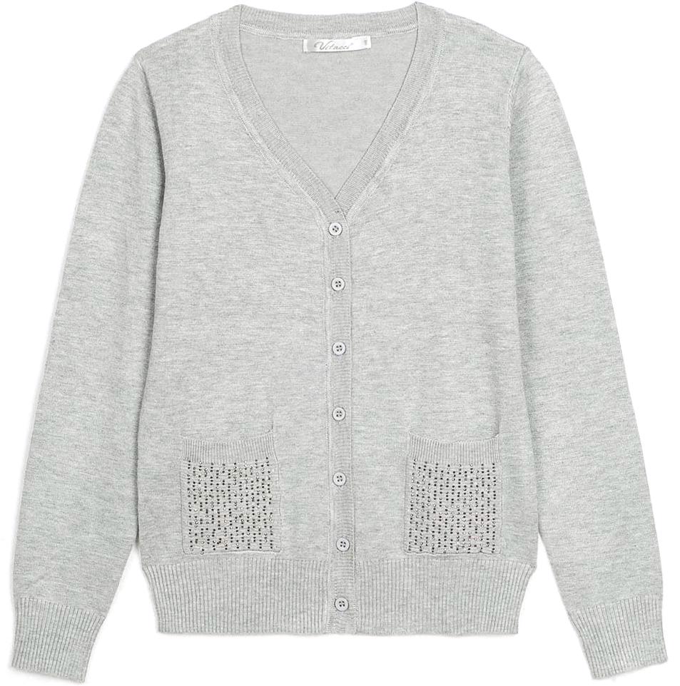Кофта для девочки Vitacci, цвет: серый. 2173001-02. Размер 1522173001-02Кофта для девочки выполнена из качественного материала. Модель с длинными рукавами застегивается на пуговицы.