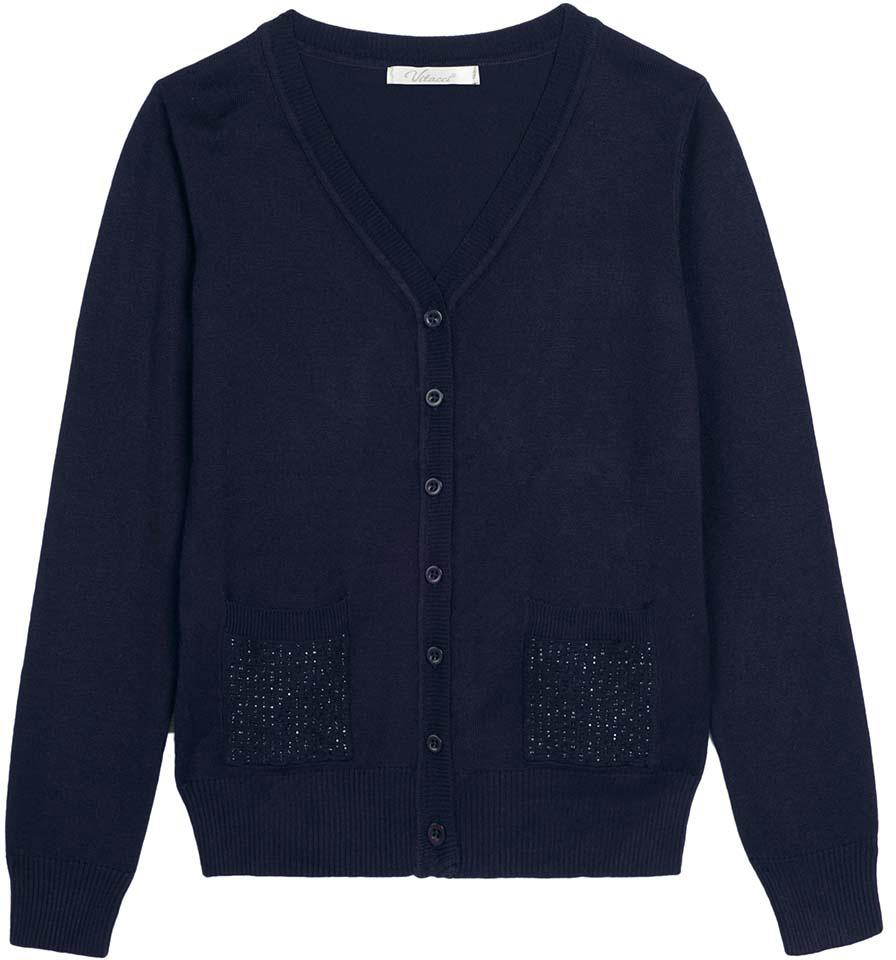 Кофта для девочки Vitacci, цвет: темно-синий. 2173001-04. Размер 164 юбка для девочки vitacci цвет черный 2173043l 03 размер 164