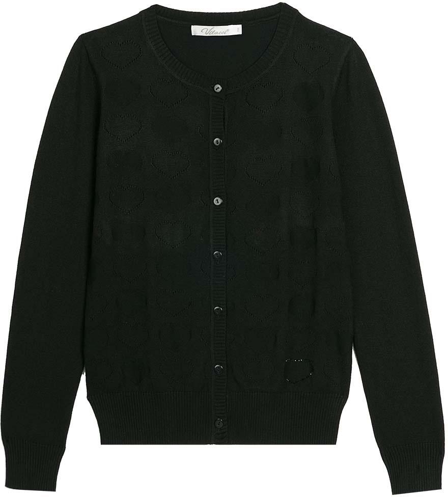 Кофта для девочки Vitacci, цвет: черный. 2173002-03. Размер 158 юбка для девочки vitacci цвет черный 2173043l 03 размер 164