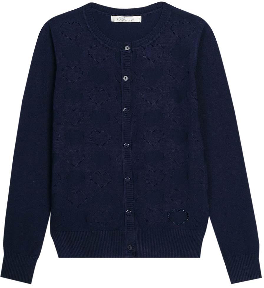 Кофта для девочки Vitacci, цвет: темно-синий. 2173002-04. Размер 164 юбка для девочки vitacci цвет черный 2173043l 03 размер 164