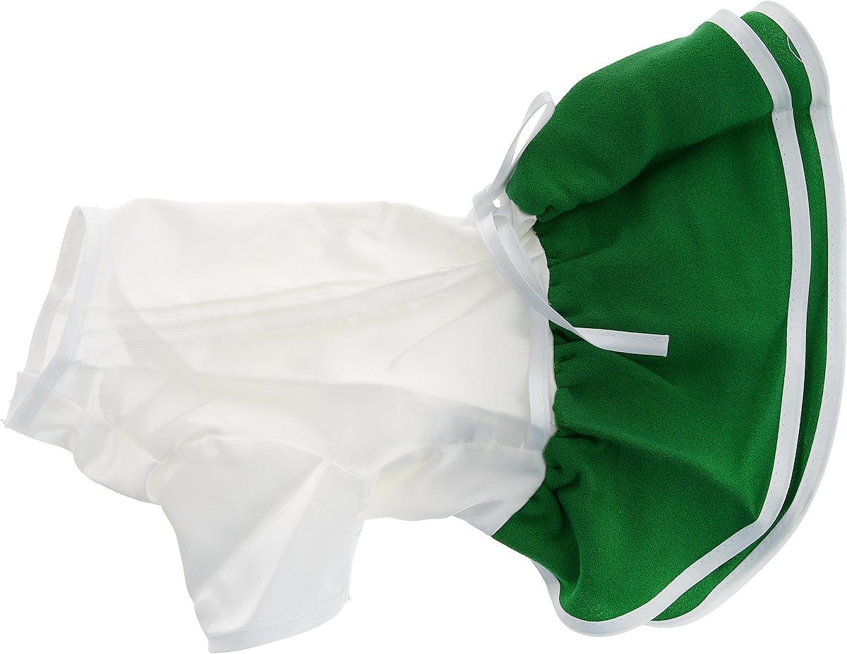 Платье для собак GLG Летнее ассорти, цвет: зеленый. Размер SMOS-022-SПлатье для собак GLG Летнее ассорти выполнено из высококачественного текстиля и оформлено декоративными вышивками. Короткие рукава не ограничивают свободу движений, и собачка будет чувствовать себя в ней комфортно. Изделие застегивается с помощью кнопок на спине.Модное и невероятно удобное платье защитит вашего питомца от пыли и насекомых на улице, согреет дома или на даче.Одежда для собак: нужна ли она и как её выбрать. Статья OZON Гид