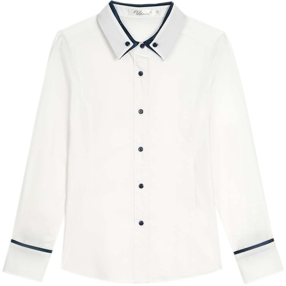Блузка для девочки Vitacci, цвет: белый. 2173017L-01. Размер 1342173017L-01Школьная блузка для девочки выполнена из хлопка и эластана. Модель с отложным воротником и длинными рукавами застегивается на пуговицы.