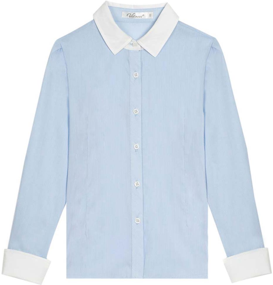 Блузка для девочки Vitacci, цвет: голубой. 2173025L-10. Размер 1402173025L-10Классическая школьная блузка для девочки выполнена из качественного материала. Модель с отложным воротником и длинными рукавами застегивается на пуговицы.