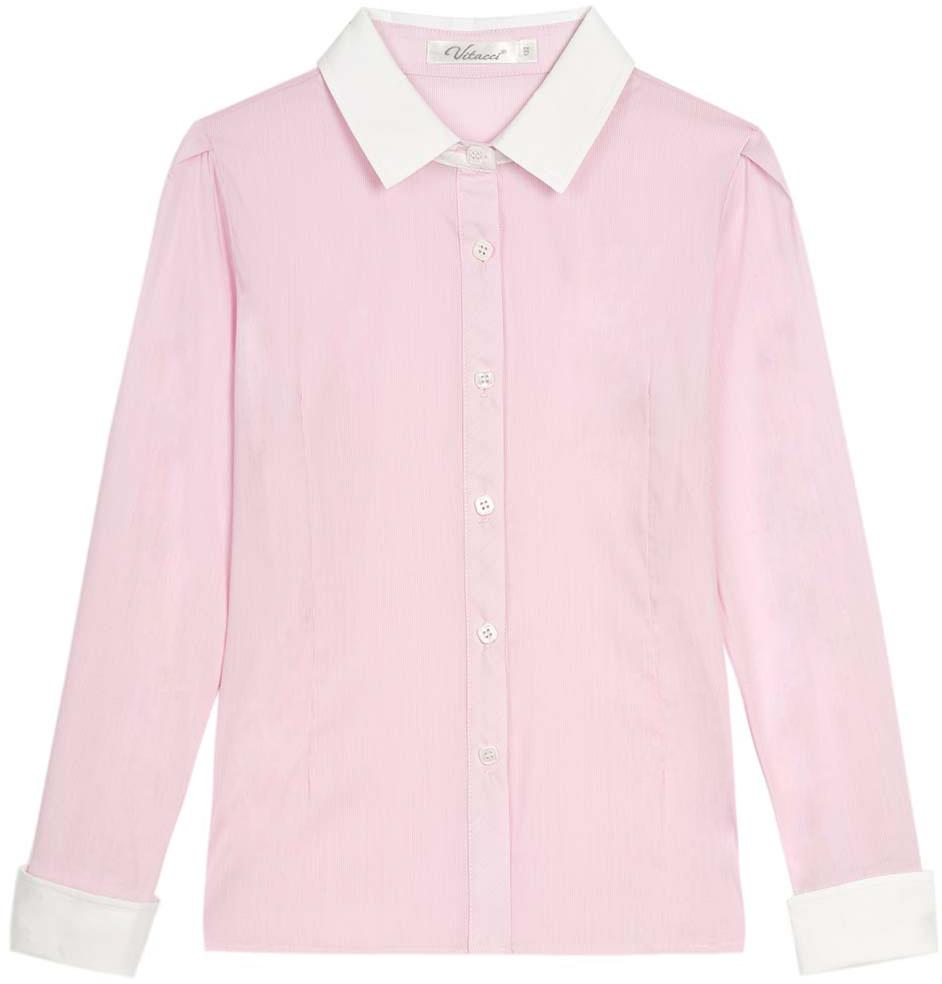 Блузка для девочки Vitacci, цвет: розовый. 2173025L-11. Размер 1342173025L-11Классическая школьная блузка для девочки выполнена из качественного материала. Модель с отложным воротником и длинными рукавами застегивается на пуговицы.