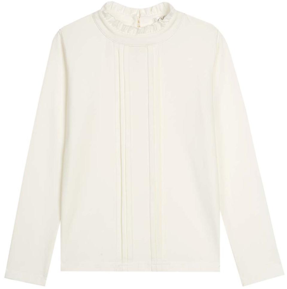 Блузка для девочки Vitacci, цвет: слоновая кость. 2173056L-25. Размер 1642173056L-25Классическая школьная блузка для девочки выполнена из хлопка и спандекса. Модель с воротником стойкой и длинными рукавами.