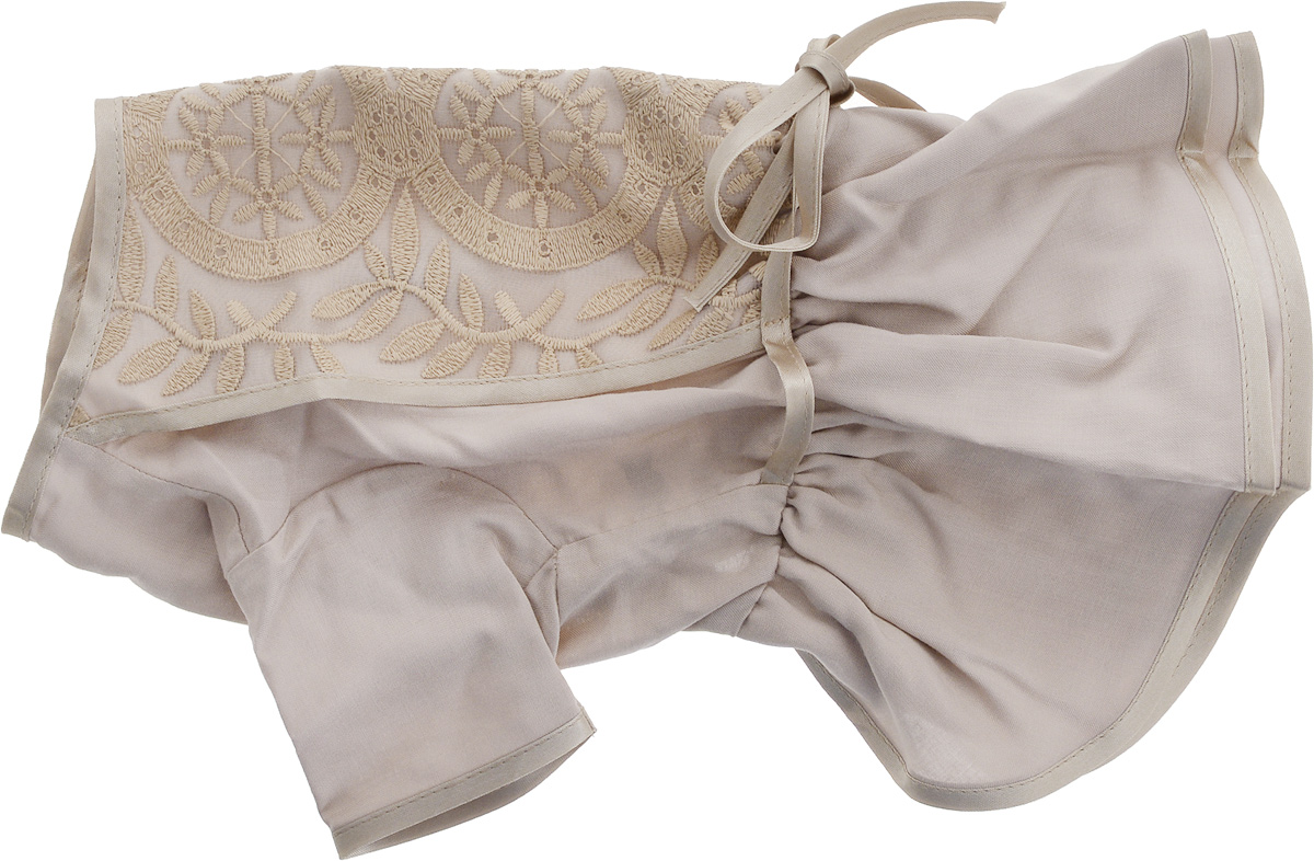 Платье для собак GLG LOVE, цвет: бежевый. Размер LMOS-020-LПлатье для собак GLG LOVE выполнено из высококачественного текстиля и оформлено декоративными вышивками. Короткие рукава не ограничивают свободу движений, и собачка будет чувствовать себя в ней комфортно. Изделие застегивается с помощью кнопок на спине.Модное и невероятно удобное платье защитит вашего питомца от пыли и насекомых на улице, согреет дома или на даче.Длина спины: 28-30 смОбъем груди: 43-45 см.Одежда для собак: нужна ли она и как её выбрать. Статья OZON Гид