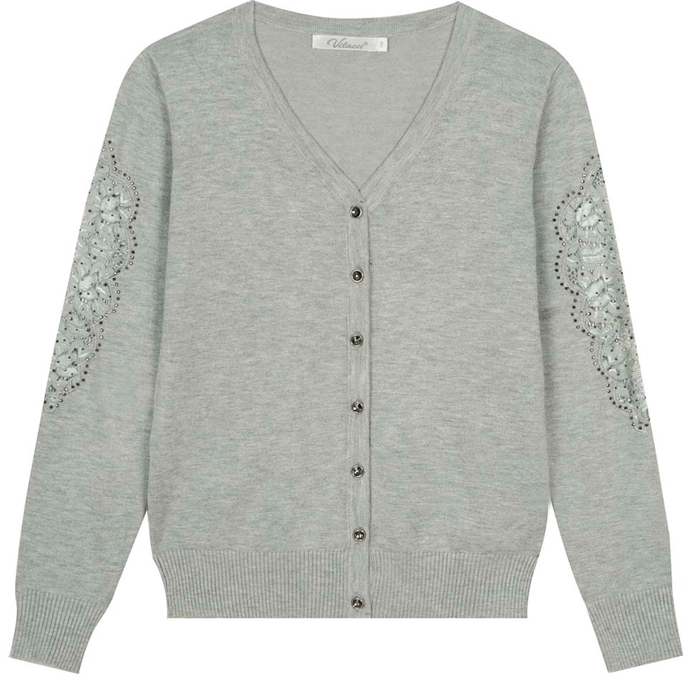 Кофта для девочки Vitacci, цвет: серый. 2173248-02. Размер 164 юбка для девочки vitacci цвет черный 2173043l 03 размер 164