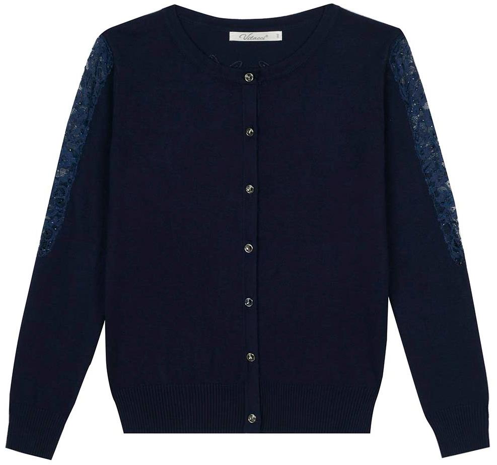 Кофта для девочки Vitacci, цвет: темно-синий. 2173250-04. Размер 164 юбка для девочки vitacci цвет черный 2173043l 03 размер 164