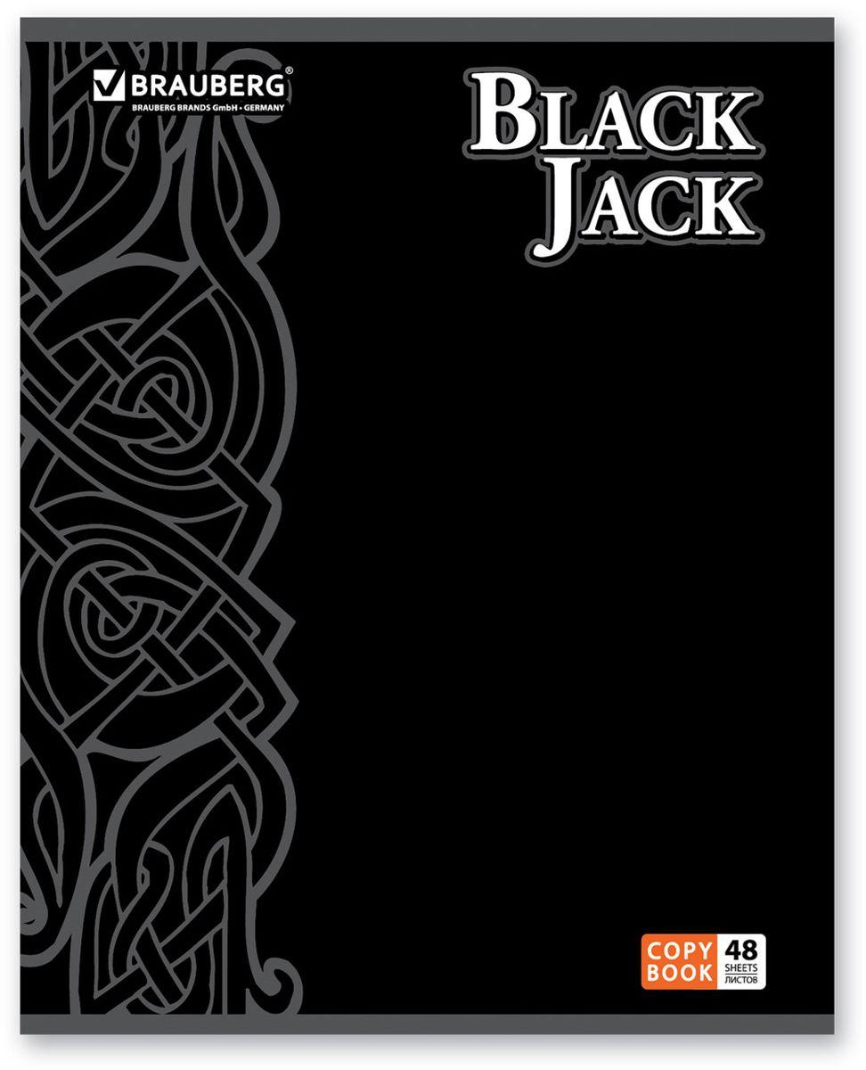 Brauberg Тетрадь Black Jack 48 листов в клетку цвет черный401824Тетрадь Brauberg Black Jack для учебы и работы.Обложка, выполненная из плотного мелованного картона, позволит сохранить тетрадь в аккуратном состоянии на протяжении всего времени использования.Внутренний блок тетради, соединенный металлическими скрепками, состоит из 48 листов белой бумаги. Стандартная линовка в клетку голубого цвета дополнена полями.
