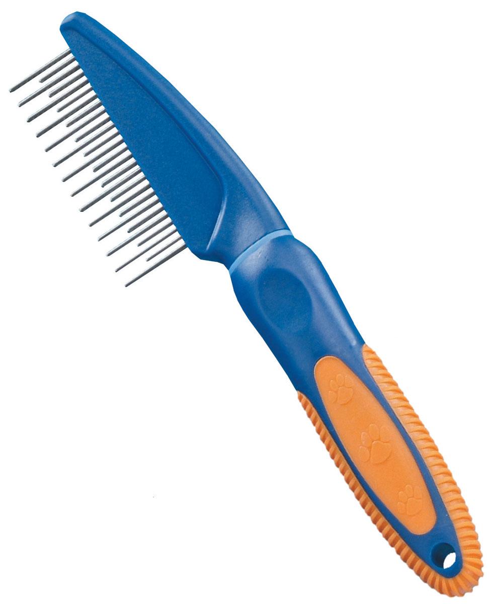 Расческа для животных Nobby, комбинированная79473Расческа Nobby с зубьями разной длины имеет удобную пластмассовую ручку с нескользящей резиновой вставкой.Металлические зубья расчески способны расчесать самую непослушную шерсть.