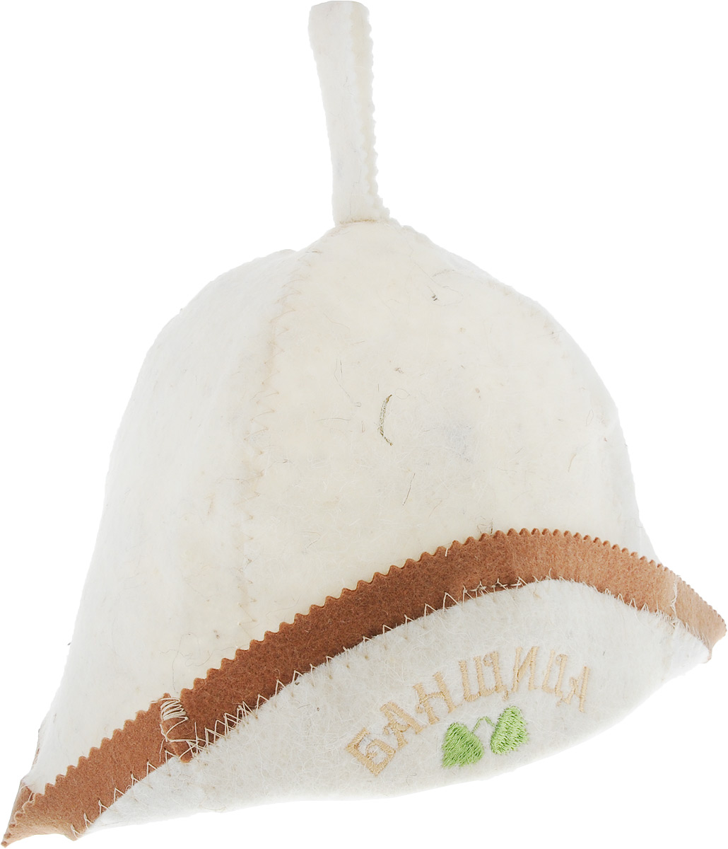Шапка для бани и сауны Банщица, с отворотом, цвет: бежевый, серый шапки для бани метиз шапка для бани с вышивкой в косметичке адмирал бани