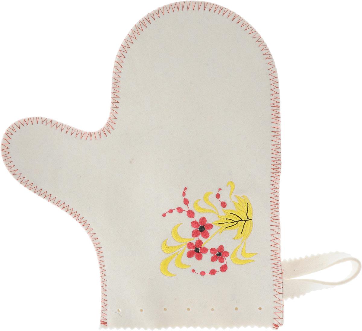 Рукавица для бани и сауны Хохлома904997Рукавица - полезный банный аксессуар. Такая рукавица убережет ваши руки от горячего пара. Также ею можно прекрасно промассировать тело. Рукавица декорирована вышивкой в стиле хохлома. При правильном уходе рукавица прослужит долгое время - достаточно просушивать ее, подвешивая за петельку. Характеристики: Материал: 100% шерсть. Длина рукавицы: 26 см. Ширина рукавицы (по верхнему краю): 15 см. Производитель: Россия.