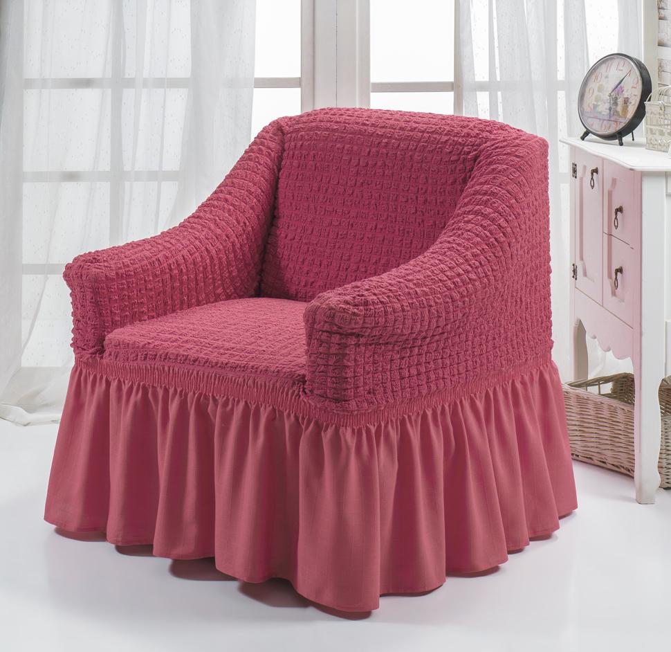 Чехол для кресла Karna Bulsan, цвет: грязно-розовый1797/CHAR004Универсальный чехол для кресла Karna Bulsan изготовлен из высококачественного материала на основе полиэстера и хлопка и дополнен широкой юбкой, скрывающей низ мебели. Изделие оснащено фиксаторами, которые позволяют надежно закрепить чехол на мебели. Фиксаторы вставляются в расстояние между спинкой и сиденьем, фиксируя чехол в одном положении, и не позволяя ему съезжать и терять форму. Фиксаторы особенно необходимы в том случае, если у вас кожаная мебель или мебель нестандартных габаритов. Характеристики:Плотность: 360 гр/м2. Ширина и глубина посадочного места: 70-80 см.Высота спинки от посадочного места: 70-80 см.Высота подлокотников: 35-45 см.Ширина подлокотников: 25-35 см.Высота юбки: 35 см.