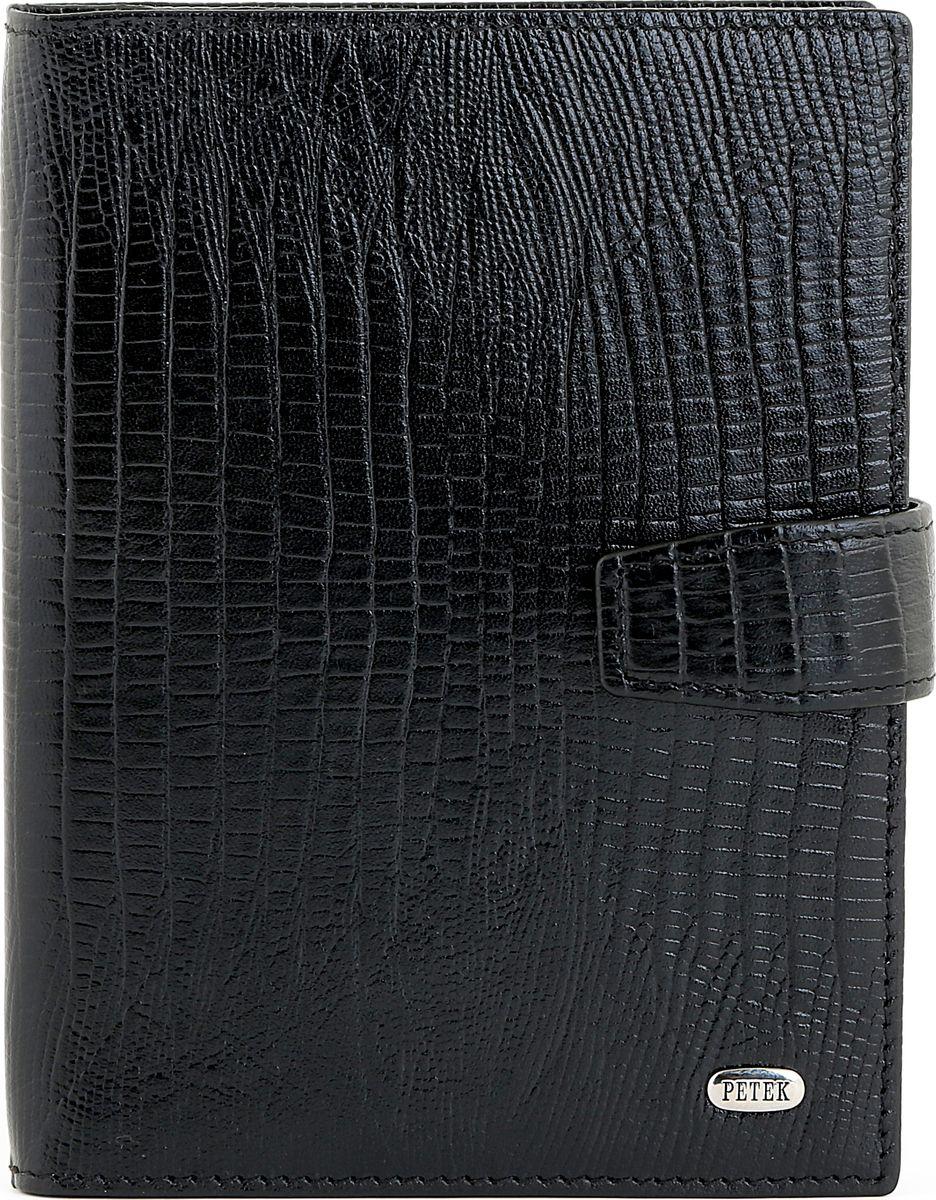 Обложка для автодокументов Petek 1855, цвет: черный. 595.041.01Натуральная кожаОбложка для паспорта Petek из натуральной кожи с плетеной фактурой. Снаружи металлическое лого Petek. Без металлических уголков.