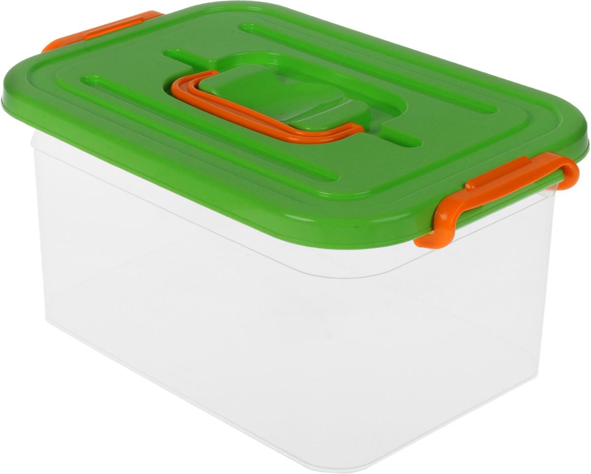Контейнер для хранения Полимербыт, цвет: салатовый, 6,5 лС809_салатовыйКонтейнер для хранения Полимербыт выполнен из высококачественного пищевого пластика. Контейнер снабжен удобной ручкой и двумя пластиковыми фиксаторами по бокам, придающими дополнительную надежность закрывания крышки. Вместительный контейнер позволит сохранить различные нужные вещи в порядке, а герметичная крышка предотвратит случайное открывание, защитит содержимое от пыли и грязи. Объем: 6,5 л.