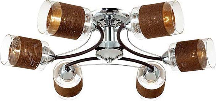 Люстра потолочная Lumion Filla Brown, цвет: прозрачный, E27, 60 Вт. 3030/6C3030/6C