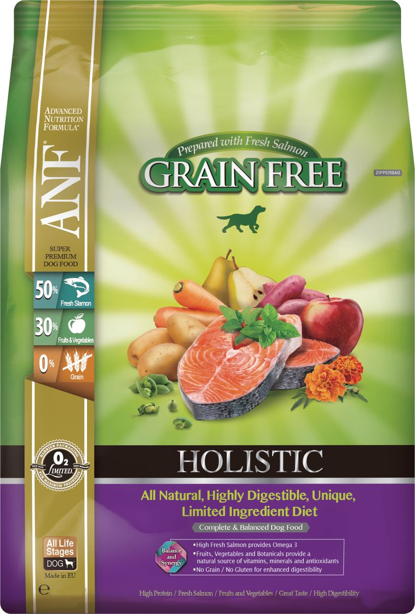 Корм сухой ANF Holistic Grain Free для взрослых собак, беззерновой, с лососем, 10 кг0302Полноценное и сбалансированное беззерновое питание для собак на всех стадиях жизни. Приготовленные на основе свежего лосося рационы ANF HOLISTIC GRAIN FREE отличаются великолепным вкусом и усвояемостью белка более чем на 95%! Полностью натуральные, высокоусвояемые, уникальные рационы с ограниченным количеством ингредиентов. Высокий уровень Омега-3 жирных кислот обеспечивает блеск шерсти и здоровье кожи животного. Свежий лосось, добавленный в рацион, придает ему великолепный вкус, обеспечивает отличное усвоение всего комплекса необходимых аминокислот. Фрукты, овощи и специально подобранные травы являются натуральными источниками витаминов, минеральных веществ и антиоксидантов. Рационы не содержат зерна, кукурузы, сои для улучшения их усвояемости. Для собак всех пород любого возраста. Приготовлено на основе свежего мяса лосося.Состав: 50% свежего мяса лосося, картофель, 13% вяленого мяса курицы, сладкий картофель, турецкий горох, соус из куриной печени, кокосовое масло, яблоко, смесь трав (тимьян, майоран, орегано, петрушка, шалфей), груша, морковь, клюква, водоросли, календула, мята перечная, спирулина, ФОС (462 мг/кг), МОС (115 мг/кг). Анализ: неочищенный белок 27%, неочищенных масел и жиров 17%, сырая клетчатка 2,5%, неорганические минералы 8,5%, НФО (углеводы) 37%, Омега-6 -2,37%, Омега-3 - 3,09%, кальций 1,75%, фосфор 1,36%. Витамины и добавки на 1 кг: витамин А (ретинол ацетат) - 14423 МЕ, витамин D3 (холекальциферол) - 2,163 МЕ, витамин Е (альфатокоферол ацетат) - 96 мг, цинк хелат аминокислот гидрата - 321 мг, феррохелат аминокислот гидрата - 321 мг, марганца хелат аминокислот гидрата - 224 мг, меди хелат аминокислот гидрата - 144 мг, селенит натрия - 0,64 мг Аминокислоты: таурин - 190мг. Пробиотик содержит E1705 Enterococcus faecium cernelle 68 (SF68: Национальные коллекции промышленных, пищевых и морских бактерий NCIMB 10415) 1 000 000 000 KOE/кг для поддержания кишечной 