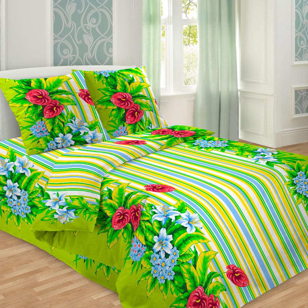 Комплект белья Letto Традиция, 1,5-спальный, наволочки 70х70, цвет: зеленый, белый, желтый. В241-3 комплект белья letto народные узоры 1 5 спальный наволочки 70х70 цвет красный белый бордовый