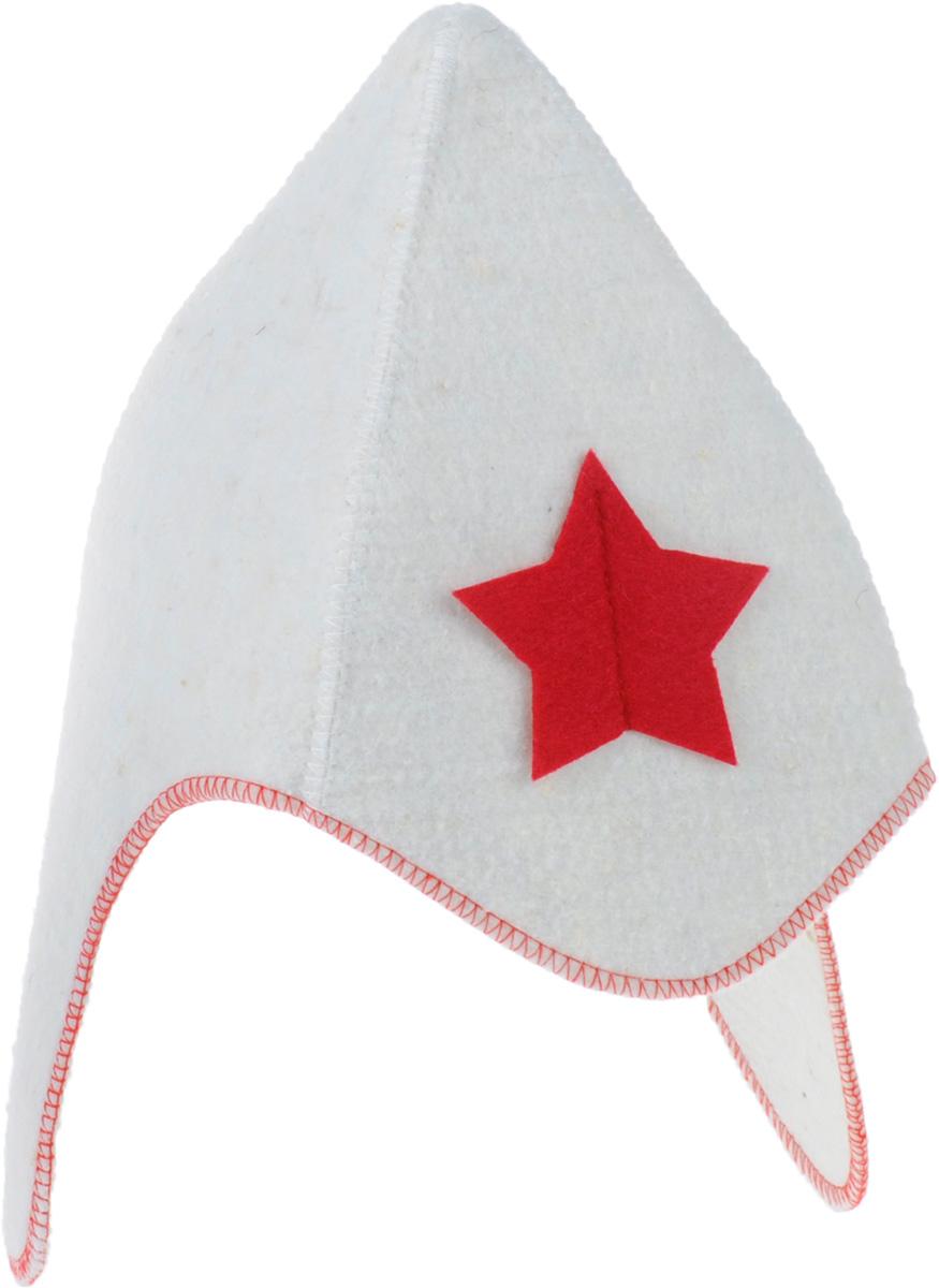 """Шапка для бани и сауны Главбаня """"Буденовка"""", цвет: белый"""