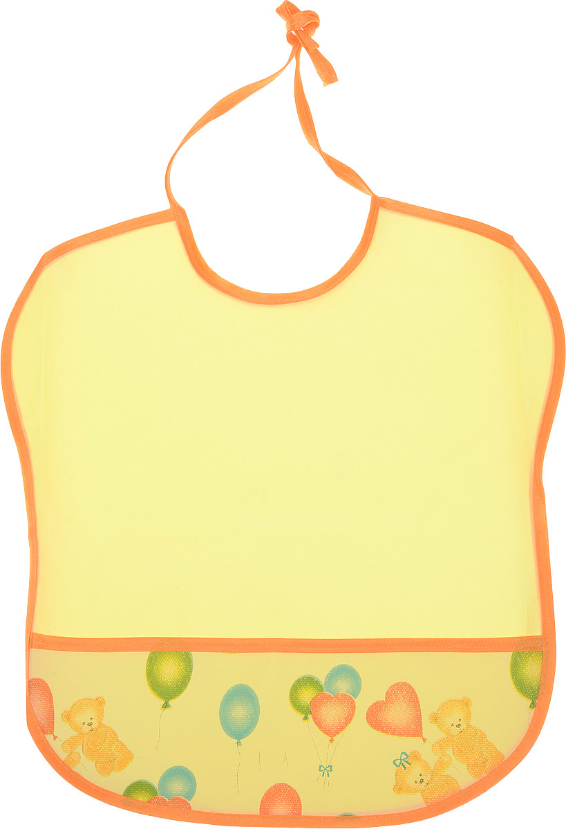 Колорит Нагрудник с карманом Мишки с шариками цвет желтый оранжевый 33 см х 33 см