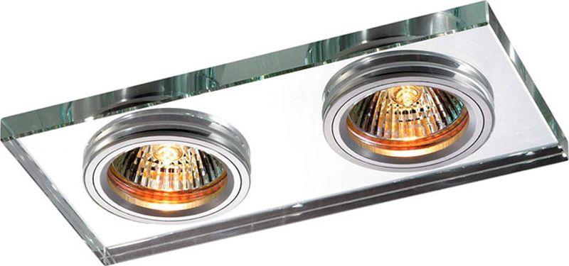 Светильник встраиваемый Novotech Mirror, цвет: прозрачный, GX5.3, 5,6 Вт. 369765369765