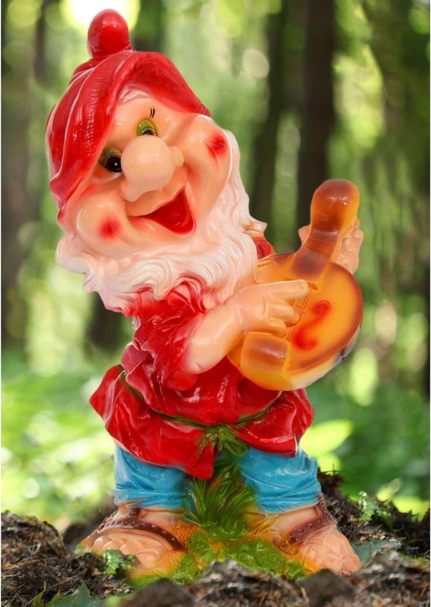 Фигура садовая Гном с мандолиной в красном колпаке, 37 х 29 х 63 см