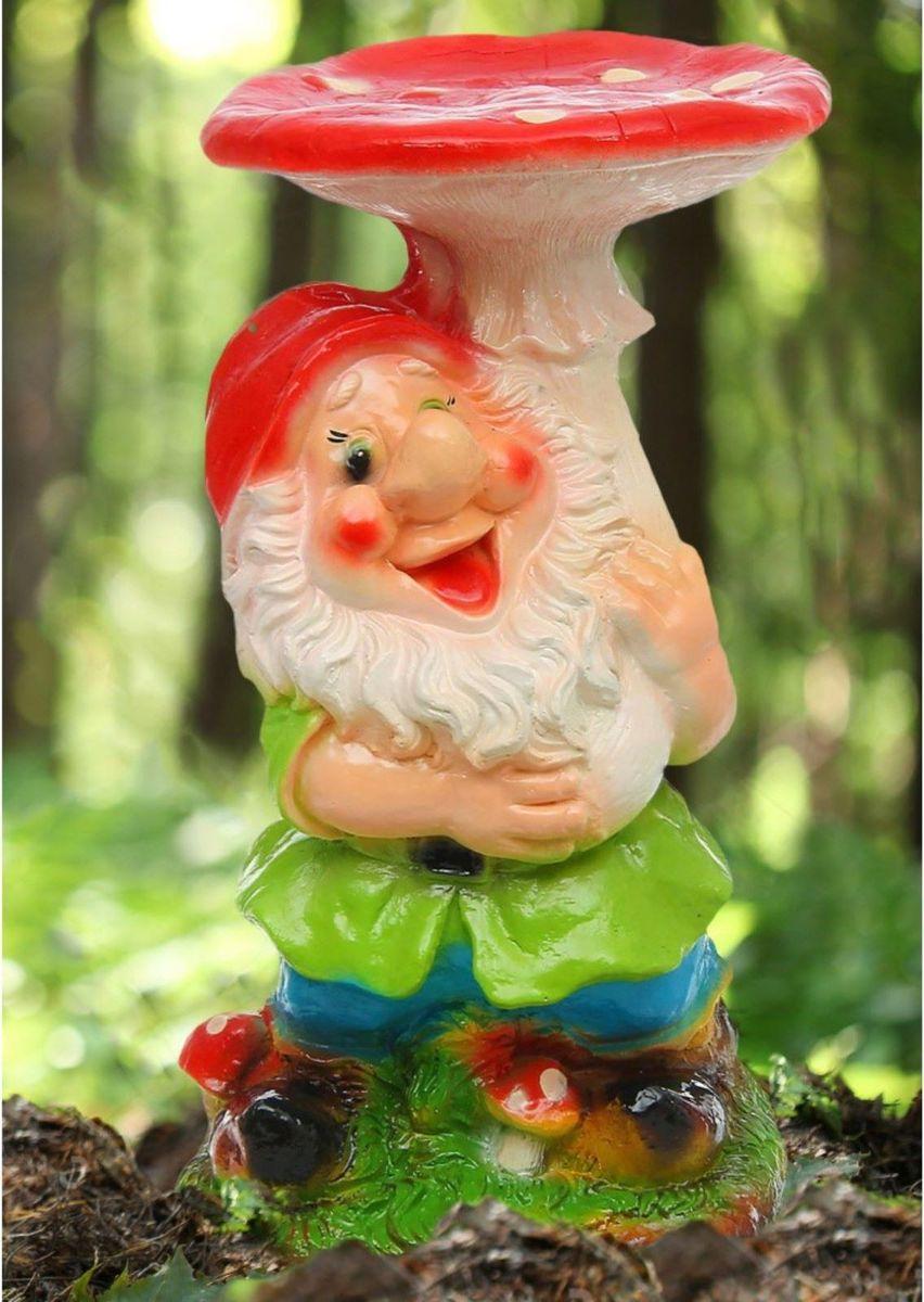 Фигура садовая Гном под грибом в красном колпаке, 27 х 25 х 52 см1121770
