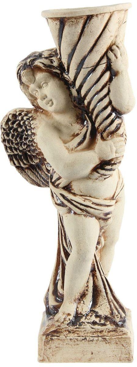 Фигура садовая Керамика ручной работы Ангел с большим рожком, 27 х 24 х 74 см