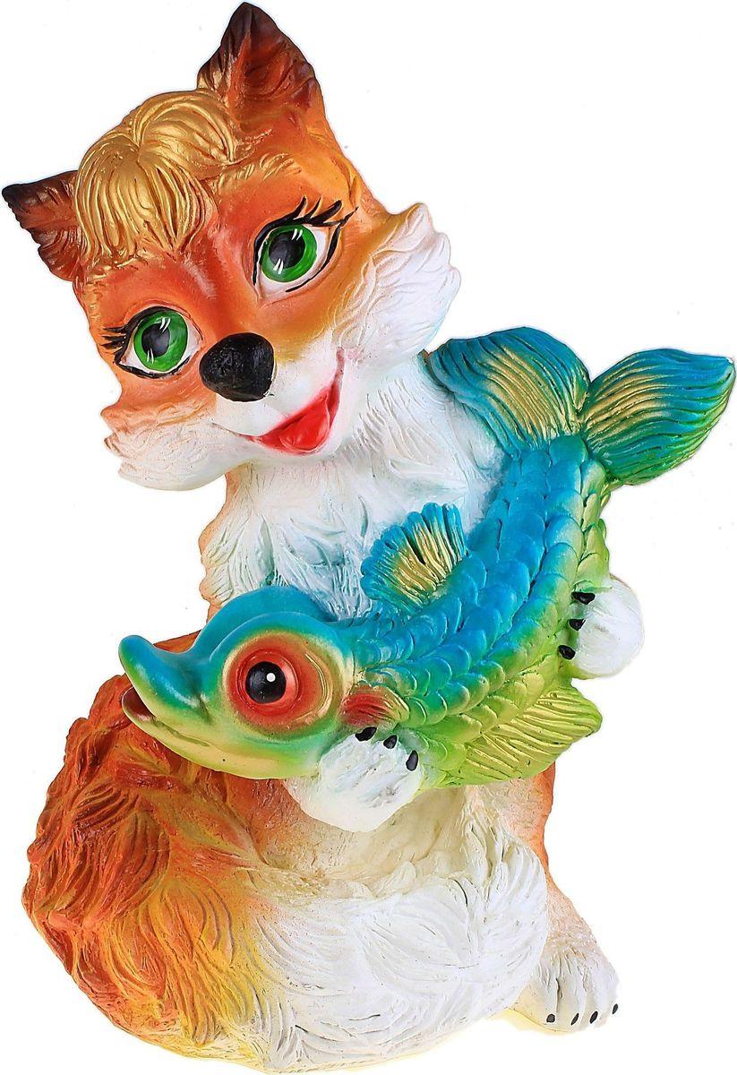 Фигура садовая Лиса с рыбкой, 25 х 20 х 30 см588560