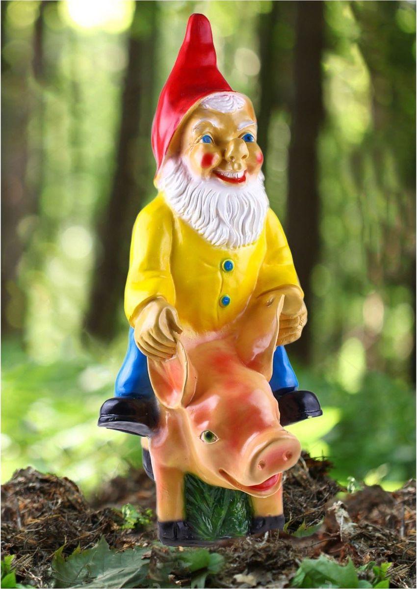 Фигура садовая Гном на свинке, 38 х 32 х 80 см644533