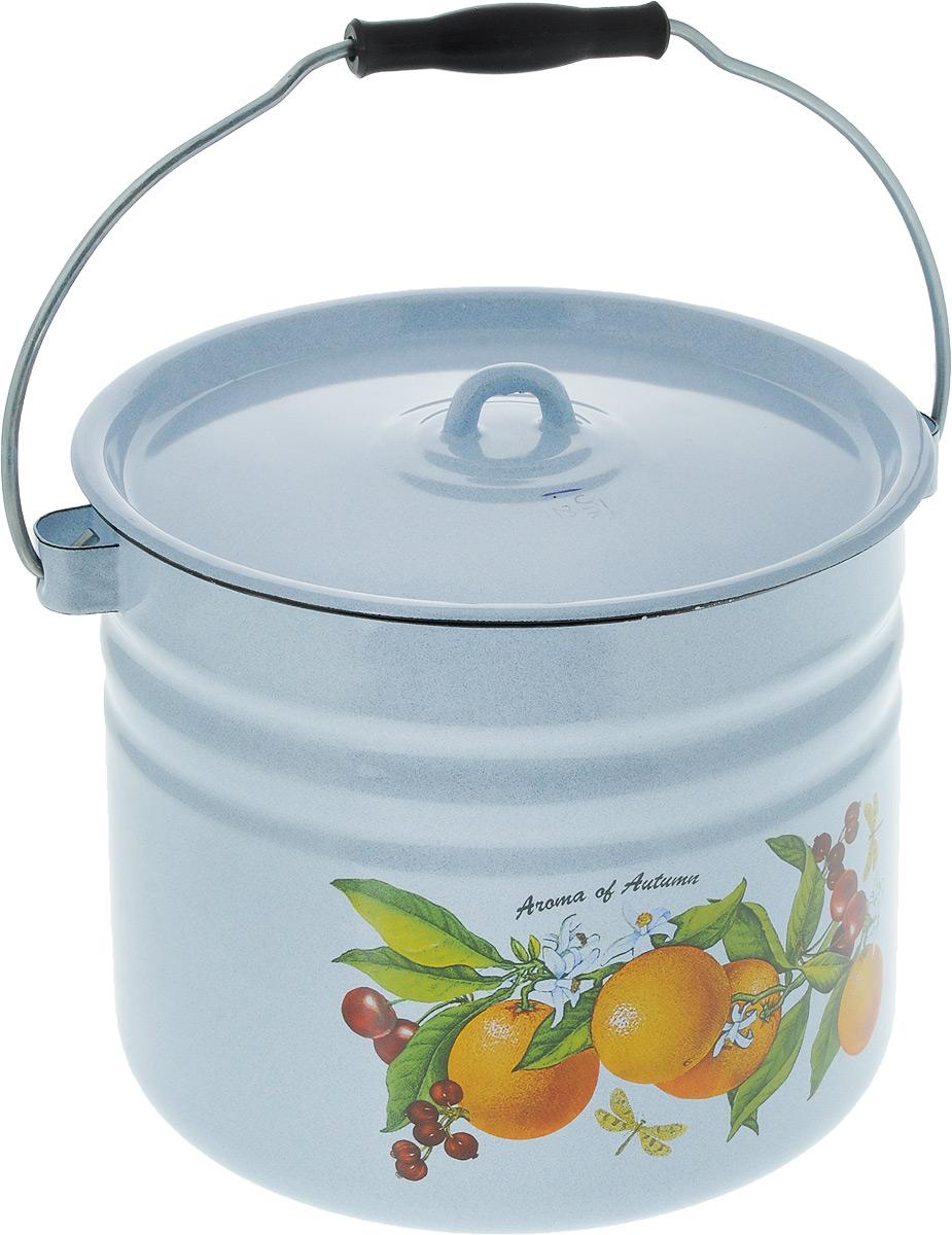 Ведро эмалированное Лысьвенские эмали Апельсины, с крышкой, цвет: голубой, 9 л ведро эмалированное кмк с крышкой с поддоном 10 л