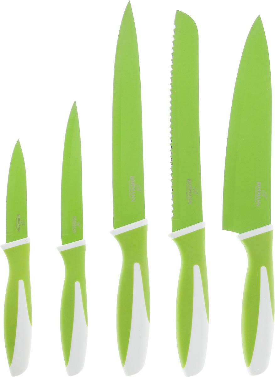 Набор ножей Bohmann, цвет: салатовый, белый, 5 предметов. 5218BH набор кухонных ножей bohmann на подставке 7 предметов