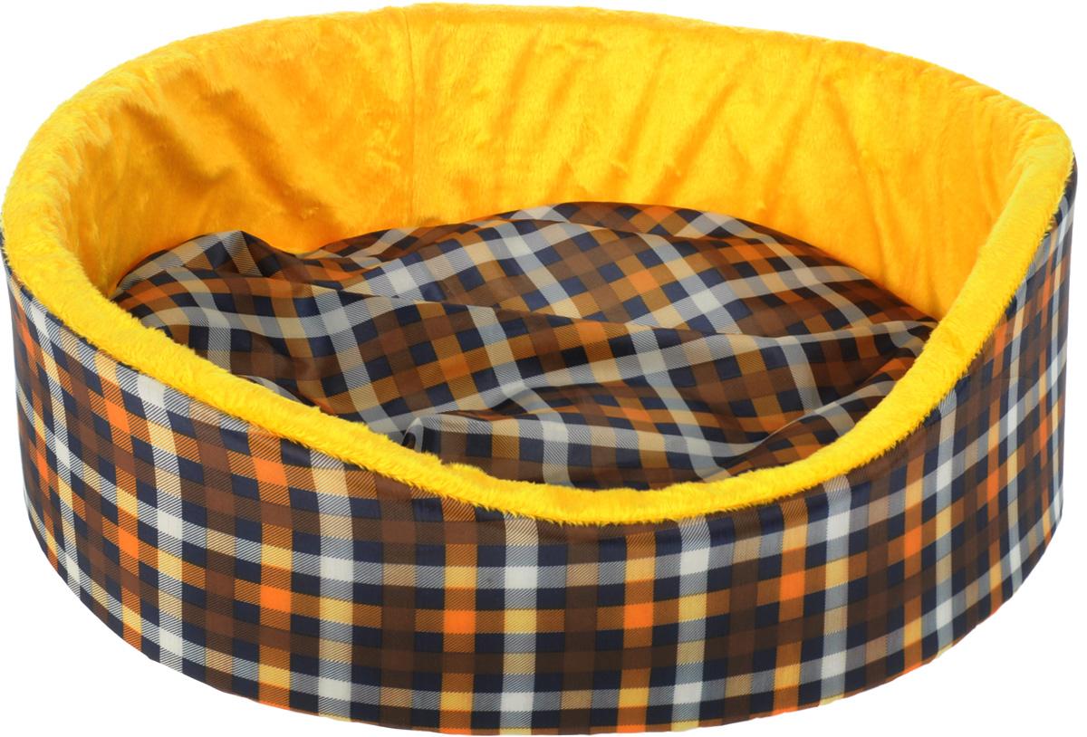 Лежак для кошек и собак GLG Нежность, цвет: желтый, коричневый, 48 x 40 x 16 смL002/B_желтый, клеткаМягкий лежак GLG Нежность обязательно понравится вашему питомцу. Он выполнен из качественного сочетания хлопка с полиэстером и дополнен набивкой из поролона. Материал не теряет своей формы долгое время. Высокие бортики обеспечат вашему любимцу уют. Мягкий лежак станет излюбленным местом вашего питомца, подарит ему спокойный икомфортный сон, а также убережет вашу мебель от шерсти.
