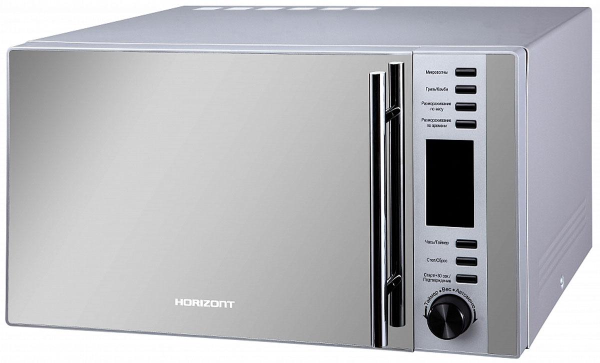 Horizont 25MW900-1479DCS микроволновая печь25MW900-1479DCSМикроволновая печь Horizont 25MW900-1479DCS поможет приготовить и разогреть различные блюда. Модель универсальная и удовлетворит все ваши кулинарные запросы. Она очень удобна в использовании и выделяется особым дизайном.В микроволновой печи предоставляется высокая мощность микроволн - 900 Вт. За счет этого обеспечивается быстрый разогрев пищи. Установлен гриль с мощностью 1000 Вт, с его помощью можно полноценно готовить в микроволновой печи.Удобное автоменю позволит быстро сориентироваться и выполнить настройку. Имеется функция отсрочки старта на некоторое время.Установлена стандартная навесная дверца. Ее открывание происходит с использованием ручки. В комплекте предоставляется стеклянный поддон и решетка для гриля. Внутри камеры расположена подсветка, чтобы было удобнее наблюдать за текущей стадией приготовления. Для отображения основных данных применяется дисплей.Имеются функция включения печи в заданное время и функция часов. По окончании процесса приготовления происходит подача звукового сигнала. В процессе приготовления и при открывании дверцы происходит включение подсветки камеры печи. Имеется защита от включения при открытой дверце.