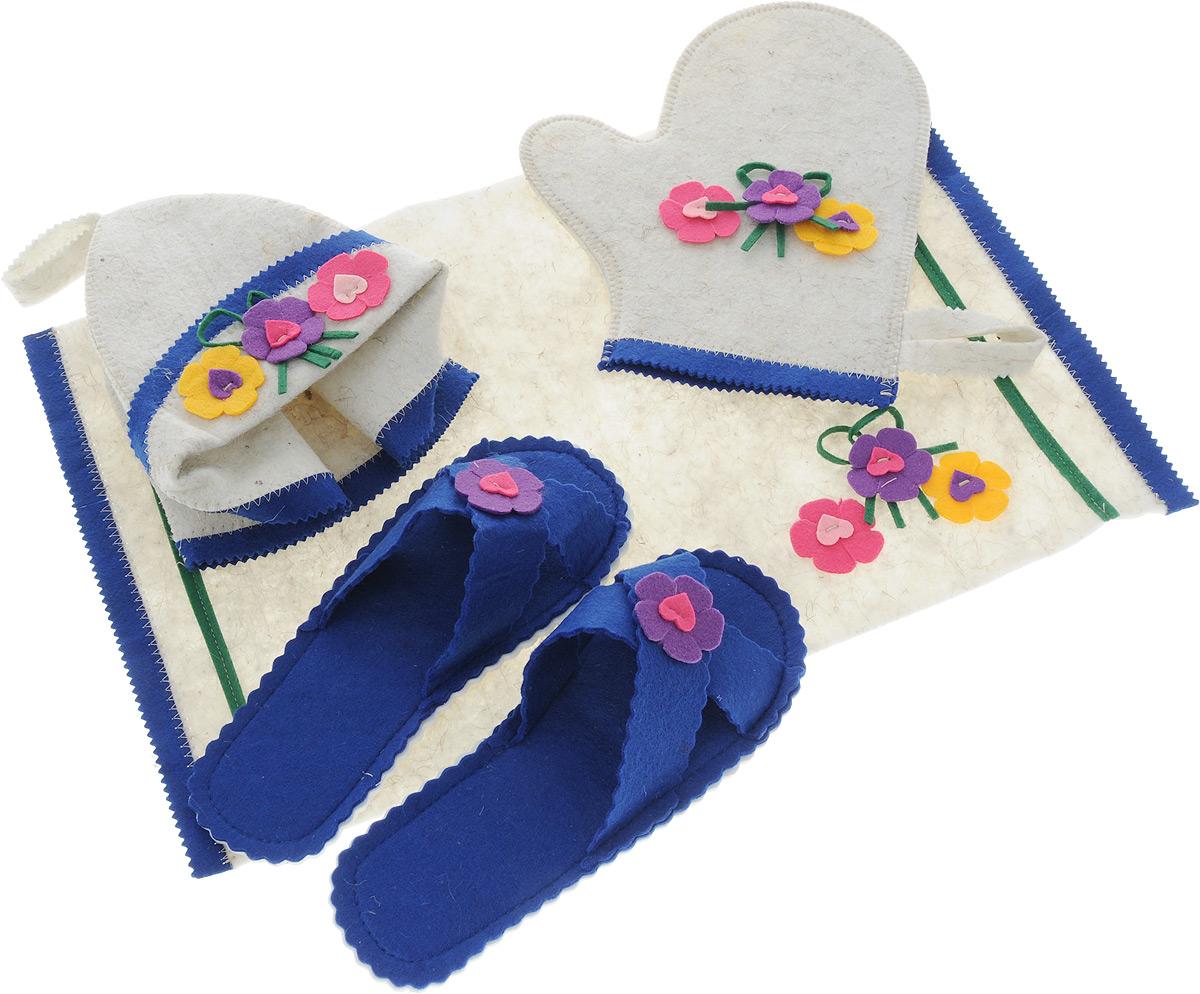 Набор для бани и сауны Доктор баня Весна, 4 предмета904803Набор для бани и сауны Доктор баня Весна, выполненный из фетра, привлечет внимание любителей модных тенденций в банной одежде.В набор входят все необходимые аксессуары, для того чтобы банный поход принес вам только радость. Набор состоит из коврика, шапки, рукавицы и тапочек. Шапка - незаменимая вещь в парной. Она необходима для того, чтобы не перегреть голову, также она должна хорошо впитывать влагу. Коврик убережет вас от горячей полки, защитит вас в общественной бане, а варежка обезопасит ваши руки от горячего пара или ручки ковша. Рукавицей можно также прекрасно помассировать тело. Тапочки сделают ваше пребывание в бане комфортным. Все предметы декорированы аппликацией в виде цветов. Характеристики:Материал: фетр (100% натуральная овечья шерсть). Диаметр основания шапки: 30 см. Высота шапки: 20 см. Размер рукавицы: 23 см х 27 см. Размер коврика: 33 см х 53 см. Длина тапок: 26 см. Наибольшая ширина тапок (по подошве): 10,5 см.