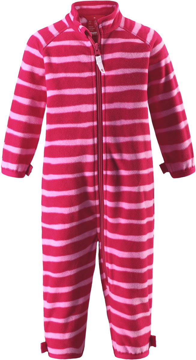 Комбинезон флисовый детский Reima Tulus, цвет: розовый. 5163183561. Размер 805163183561Флисовый комбинезон для малышей превосходно послужит в качестве промежуточного слоя в морозные зимние дни – он теплый и очень мягкий на ощупь. Этот комбинезон изготовлен из легкого полярного флиса, дышащего и быстросохнущего материала, который обеспечивает ребенку полный комфорт во время активных прогулок. Молния во всю длину облегчает надевание, а защита для подбородка не дает поцарапать шею и подбородок ребенка.