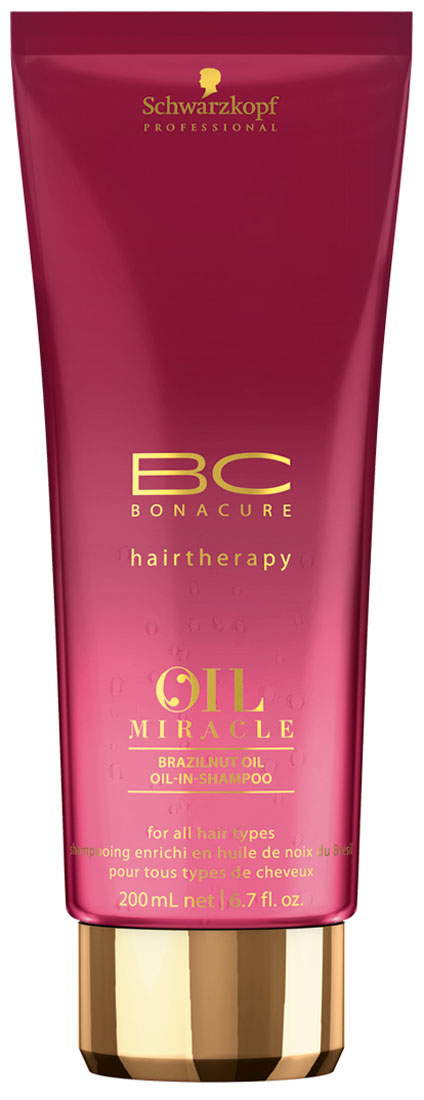 Bonacure Шампунь Oil Miracle Бразильский орех, 200 мл2138541Деликатный Шампунь для всех типов волос, в основе этого продукта Масло Бразильского Ореха, которое добывается из семян самого высокого дерева Южной Америки, произрастающего в диких джунглях Амазонки. Масло содержит питательные протеины, минералы и кислоты Омега 3 и 9, заполняет структурные пустоты волоса, обладает уникальными увлажняющими свойствами, анти-оксидативными свойствами благодаря высокому содержанию Селена и Витамина Е, который противостоит вредному воздействию свободных радикалов. Продукты на основе этого масла обеспечивают волосам роскошное питание, насыщенный блеск и при этом совсем не перегружают волосы. Также, Шампунь содержит Гидролизованный Кератин, который реконструирует поврежденные участки кортекса, для восстановления прочности и эластичности. Пантенол обеспечивает естественный водный баланс в волосах. Новейшая Технология Микрокапсуляции аромата позволяет сохранить его тончайший шлейф до 24 часов.