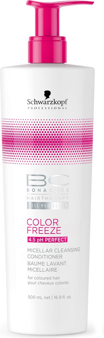 Bonacure Мицеллярный очищающий кондиционер Сияние цвета Bonacure Color Freeze, 500 мл2163116Первый Мицеллярный Очищающий Кондиционер. Для окрашенных волос. Мягкая, слабопенящаяся формула без сульфатов очищает и кондиционирует волосы, сохраняя естественный гидробаланс и не перегружая. Формула, обогащенная производной Гиалуроновой кислоты, контролирует уровень увлажнения. Сохраняет цвет от вымывания. Волосы мягкие, блестящие и упругие.