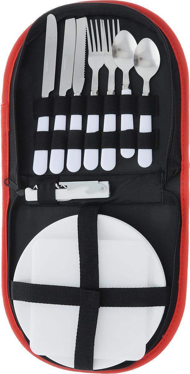 """Набор для сервировки RoyalGrill """"Походный"""" включает 11 предметов: 3 ножа (2 столовых, 1 для резки), 2 вилки, 2 ложки, открывалка со штопором и ножом, 2 тарелки, 1 мини-доска. Изделия выполнены из пищевого полипропилена. Лезвия изготовлены из прочной и экологичной нержавеющей стали толщиной 1,5 мм. Для хранения набора предусмотрена специальная сумка на молнии, выполненная из плотной ткани оксфорд. Каждый предмет в сумке фиксируется с помощью резинок. Компактный походный набор очень удобно взять с собой на природу, пикник, в поход или поездки. Идеальный вариант для сервировки стола в походных условиях.Диаметр тарелки: 20 см. Размер доски: 15 х 15 см. Длина открывалки: 11 см. Длина ножей: 21 см. Длина вилки: 19 см. Длина ложки: 16 см. Размер сумки: 24,5 х 22 х 4 см."""