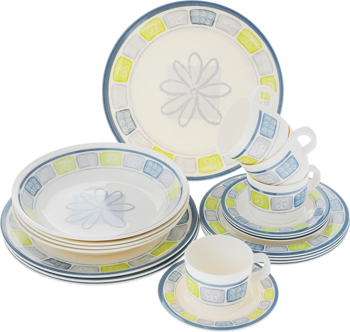 Набор столовой посуды Calve Цветок, 20 предметовCL-2514_цветокНабор Calve состоит из 4 суповых тарелок, 4 обеденных тарелок, 4 десертных тарелок, 4 блюдец и 4 чашек. Такой набор прекрасно подойдет для повседневного использования дома или на даче, также пригодится на пикнике. Изделия выполнены из высококачественного меламина, нетоксичного и безопасного при контакте с пищей. Посуда отличается прочностью, гигиеничностью и долгим сроком службы, она устойчива к появлению царапин, легкая по весу и не имеет запаха. Посуда имеет элегантный внешний вид и привлекательное художественное оформление. Можно мыть в посудомоечной машине при температуре 30-40°С или вручную. Диаметр суповой тарелки: 23 см. Высота суповой тарелки: 4 см.Диаметр обеденной тарелки: 26 см. Диаметр десертной тарелки: 20 см. Диаметр блюдца: 14,5 см. Объем чашки: 237 мл.Диаметр чашки (по верхнему краю): 8 см.Высота чашки: 6 см.