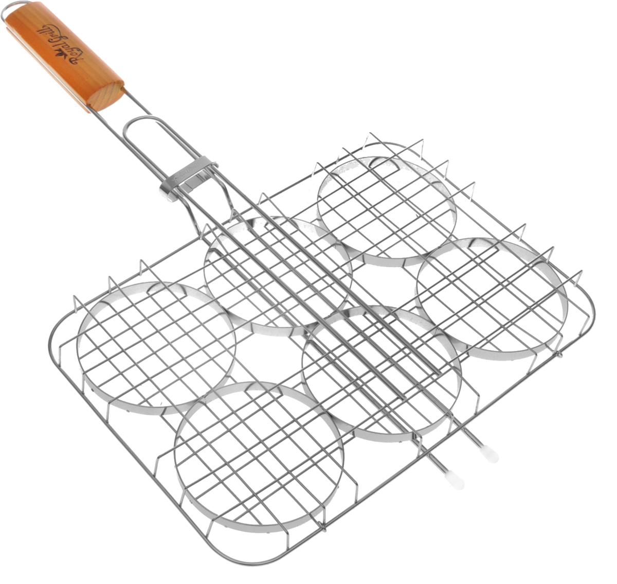 """Решетка-гриль для приготовления бургеров на углях  """"RoyalGrill"""" изготовлена из высококачественной пищевой стали,  а рукоятка выполнена из дерева. Изделие имеет 6 секций для  приготовления бургеров. Верхняя створка надежно  фиксируется с помощью кольца на ручке. Надежная  конструкция удобна в использовании.  Диаметр секции: 10 см.    Размер решетки: 32 х 22 х 3,5 см.  Длина (с ручкой): 53 см."""
