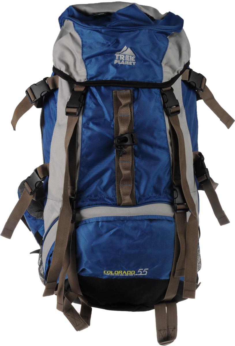 Рюкзак туристический Trek Planet Colorado 55L, цвет: синий, серый. 7055670556_синий, серыйТуристический рюкзак Trek Planet Colorado 55L станет отличным выбором для любителей походов и кемпингов. Анатомическая вентилируемая спинка обеспечивает максимальный комфорт и стабилизацию рюкзака на спине. Оптимальное распределение нагрузки выполняет регулируемая система жесткой подвески V1. Объем рюкзака регулируется вертикальными и горизонтальными стропами. Дополнительный вход в нижнее отделение и два глубоких кармана на молнии по бокам. Особенности рюкзака: - 2 глубоких кармана на молнии по бокам; - 2 боковых сетчатых кармана на резинке; - карман на поясном ремне; - дополнительные лямки внизу для крепления снаряжения;- 2 кармана в верхнем клапане; - дополнительный вход в нижнее отделение; - компрессионные ремни; - съемный чехол от дождя.