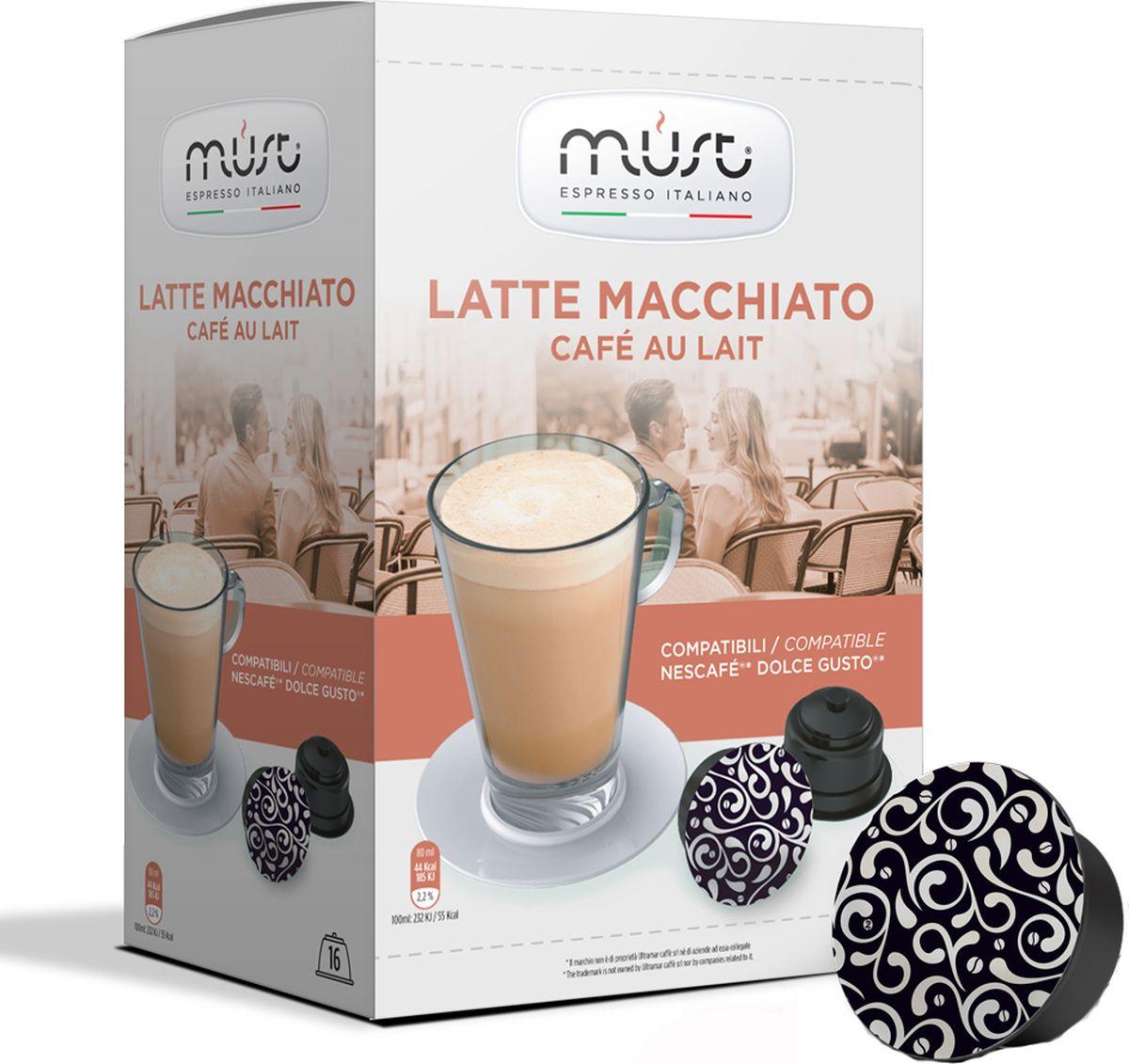 MUST DG Latte Macchiato кофе в капсулах, 16 шт8056370761487Кисло-сладкий, сливочный вкус и благородный аромат с нотками темного шоколада и миндаля. Этот кофе латте сочетает в себе сладкое и нежное послевкусие, сбалансированную консистенцию и крепость.